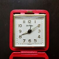 Vintage Seth Thomas Travel Alarm Clock very Collectable Watch with Red leatherCa