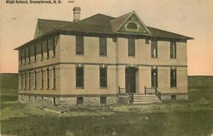 Hand-Colored Postcard High School, Donnybrook, North Dakota - used in 1915