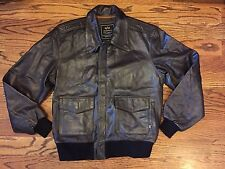 ALPHA INDUSTRIES - Men's A 2 Leather Flight Bomber Jacket Dark Brown - L NWOT