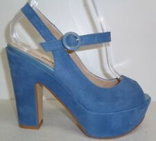 Nara Shoes Size 7.5 Eur 38 GALIA Blue Suede Platform Sandals New Womens Shoes
