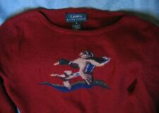Lauren Ralph Lauren Sweater Ducks Wool Angora Cashmere Dark Red Designer