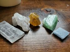 Set of 5 CALCITE Crystals ~ Rough Stone Mini Collection ~ Green Blue Mangano Ice