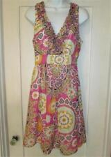 5/48 Saks Fifth Ave, Ruffles Chiffon Lined Dress, Floral Flowers, Pink Purple, S