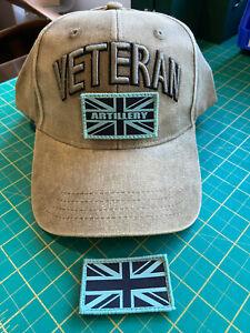 Artillery/Gunner VETERAN'S adjustable baseball cap with patches, 3D Veteran
