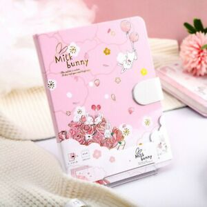 """Milk Bunny"" 1pc Hard Cover Cute Journal Diary Girls Notepad Planner Notebook"