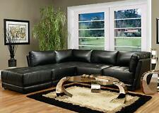 Contemporary Black Bonded Leather 5 Piece Modular Sectional Sofa Modern