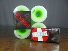 These Wheels Longboard Skateboard 75mm 80a GREEN w/ Bones SWISS Ceramic Bearings