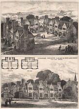 Almshouses, Worcester, White Ladies Property; Aston Webb Architect 1875 print