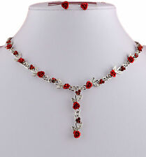 SILVER TONE METAL RED PINK BLACK LILAC GREEN WHITE ROSE & CRYSTAL NECKLACE SET