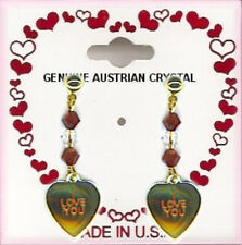 I Love You Heart Dangle Pierced Earrings, 6 Crystal Stones Valentine's Gift NEW