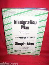 GRAHAM NASH Immigration man + Simple man 1973 Sheet Music Spartiti