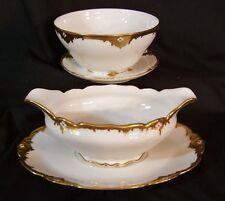 Antique LIMOGES Comte D'Artois Raised Gold Encrusted GRAVY BOAT & BOWL w/ PLATE