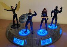 "Marvel  Cap America, Black Panther, Black Widow, Wasp 3.75"" w/ TRU Light up Base"