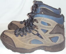 OZARK TRAIL, LADIES GRAY AND BLUE LEATHER SUEDE LACE UP ANKLE BOOT, SIZE 10 1/2