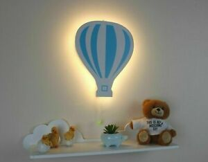 Night Light Blue Balloon Wall Hanging Baby Kids Bedroom Nursery LED Lamp Decor