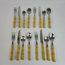 16 Piece Setting For 4 Cambridge Faux Bamboo Handled  Stainless Flatware