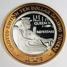 New Listing2001 G Luxor Casino .999 Silver Strike $10 Nefertari Copper Rim Token +Lx0141