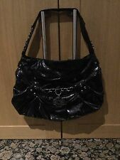 BLACK PATENT MISCHA SINGLE STRAP BAG USED IN GOOD CONDITION