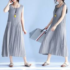 Women Organ Chiffon Long Plus Size Dress Oversize Summer Sundress Maxi Pleated