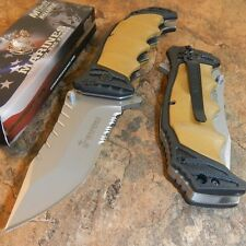 USMC OFFICIALLY LICENSED US MARINES TAN ASSISTED OPENING TACTICAL KNIFE NEW