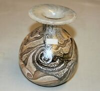 Maltese Studio Art Glass Vase Signed Gozo Glass Stone Pattern Original Label