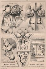 Early Gothic stone carvings; drawn & lithographed by Owen W. Davis 1869 print