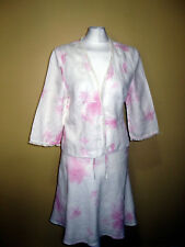 PHASE EIGHT 100% linen/embroidery jacket and A-line skirt suit size 12 UK