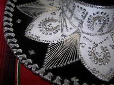 Sombrero Black & Silver Hat Made in Mexico Mexican Party Costume Fancy Dress