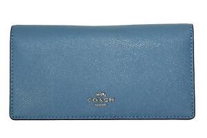 Coach Crossgrain Leather Bifold Slim Wallet Slate Blue 88025