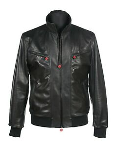 $12.899 Kiton Napoli Jet Black Lambskin Bomber Style Leather Jacket 36/46