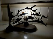 Fallow Deer Antler Lamp, Fish Group Design, Handmade Very Unique Gift