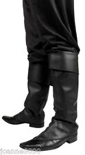 Mens Black Fancy Dress Costume Boot Top Covers Santa Medieval Peter Pan Pirate