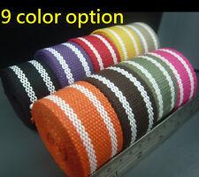 32mm Stripe Spun Polyester Webbing - DIY Canvas Cotton Hand bag strap/belt craft