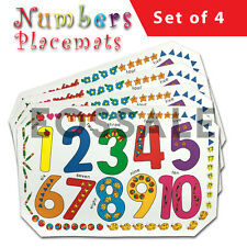 Set of 4 Kids Numbers Place Mat Placemats Table Mats Children Boy Girl Party