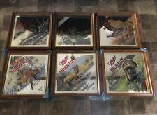 (Vtg) Miller High Life Beer Wildlife Series Diamond Set Of 6 Wood Frame Mirrors