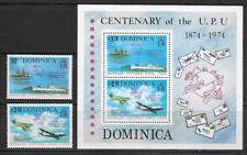 DOMINICA ,1974 , UPU , SOUNENIR SHEET & SET OF 2 , PERF , MNH