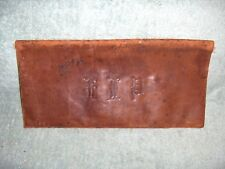 Antique Soft Leather Document Wallet Paper Map Holder Silk Lined Barn Find