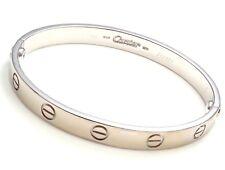 Authentic! CARTIER 18k White Gold Love Bangle Bracelet 1993 Size 16
