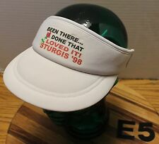 """1998 STURGIS """"BEEN THERE...DONE THAT LOVED IT!"""" WOMENS VISOR HAT WHITE VGC E5"""