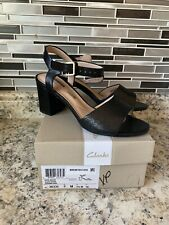 Clarks Womens Deva Quest Black Heel Sandals Size 6 New In Box