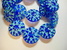 10 14mm Czech Glass Cobalt Blue w/ Turquoise wash Dahlia Flower Coin Beads
