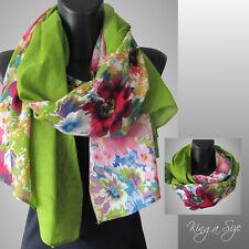 Schal / Scarf Schultertuch Tuch Loop Cloth Floraldesign - Baumwolle - grün