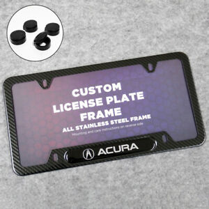 For Acura Sport Front or Rear Carbon Fiber Texture License Plate Frame Cover