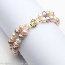 Genuine 7-8mm 2 Rows Multicolor Natural Freshwater Akoya Pearl Bracelet 7.5''