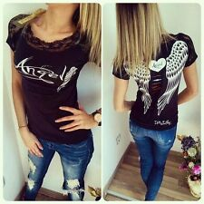 UK Women Lace Crew Neck T Shirt Angel Wings Hollow Short Sleeve Tops Blouse Tee White#1 XXXS