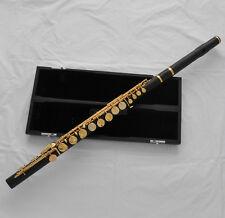Professional Ebony Wooden Alto Flute Gold Platd G Key Italian pads With Case