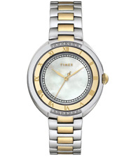 NEW - Timex T2M596 Women's Mother of Pearl TwoTone Stainless Steel Diamond Watch