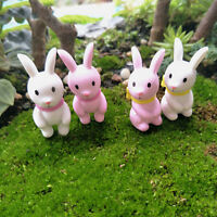 2pcs Mini Cute Bunny Rabbit Ornament Figurine Miniature Fairy Garden Decor