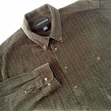 Croft & Barrow Shirt Green Corduroy Button Front Diamonds Squares Large