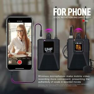 DSLR Camera UHF Wireless Dual Lavalier Microphone 30 Channels System u s